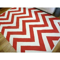 Reversible Flatweave Chevron Cotton Floor Rugs Red
