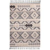Luxurious Short Pile Shag Inspired White Bohemian Fringed Floor Rug