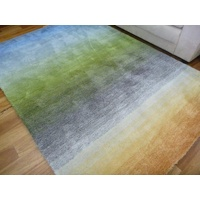 Very Soft Modern Pastel Colour Graduation 20mm Thick Floor Area Rug Green