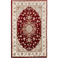 Persian Medallion Design Red Soft Feel Raffia 11mm Thick Floor Area Rug