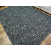 Hand Knotted Charcoal Romance NZ Wool Chunky Loop Ball Pile Textured Floor Area Rug
