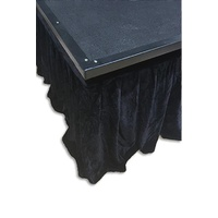Black Velvet Skirt Curtain with Strap Fasteners for Portable Stage 7.32m x 41cmH or 7.32m x 61cmH