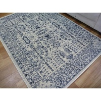 Persian Design Floor Area Rugs & Runner Chorus Cream Blue Allover Detailed Soft Feel